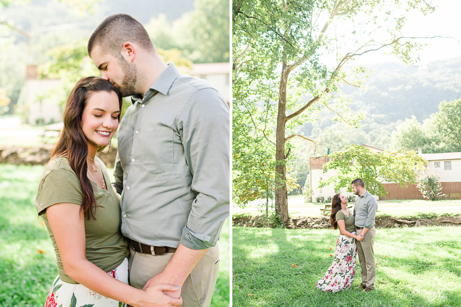 girl in olive colored shirt and guy in gray button down holding hands outside at golden hour in Cumberland Gap TN. And tall sunlit tree with newly engaged couple under it in August