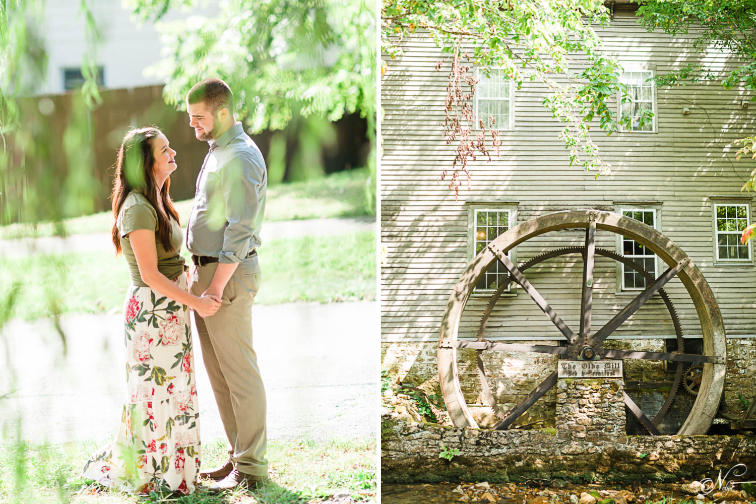 engaged couple holding hands under a willow tree at the old mill in Cumberland Gap TN. And the old mill wheel in August
