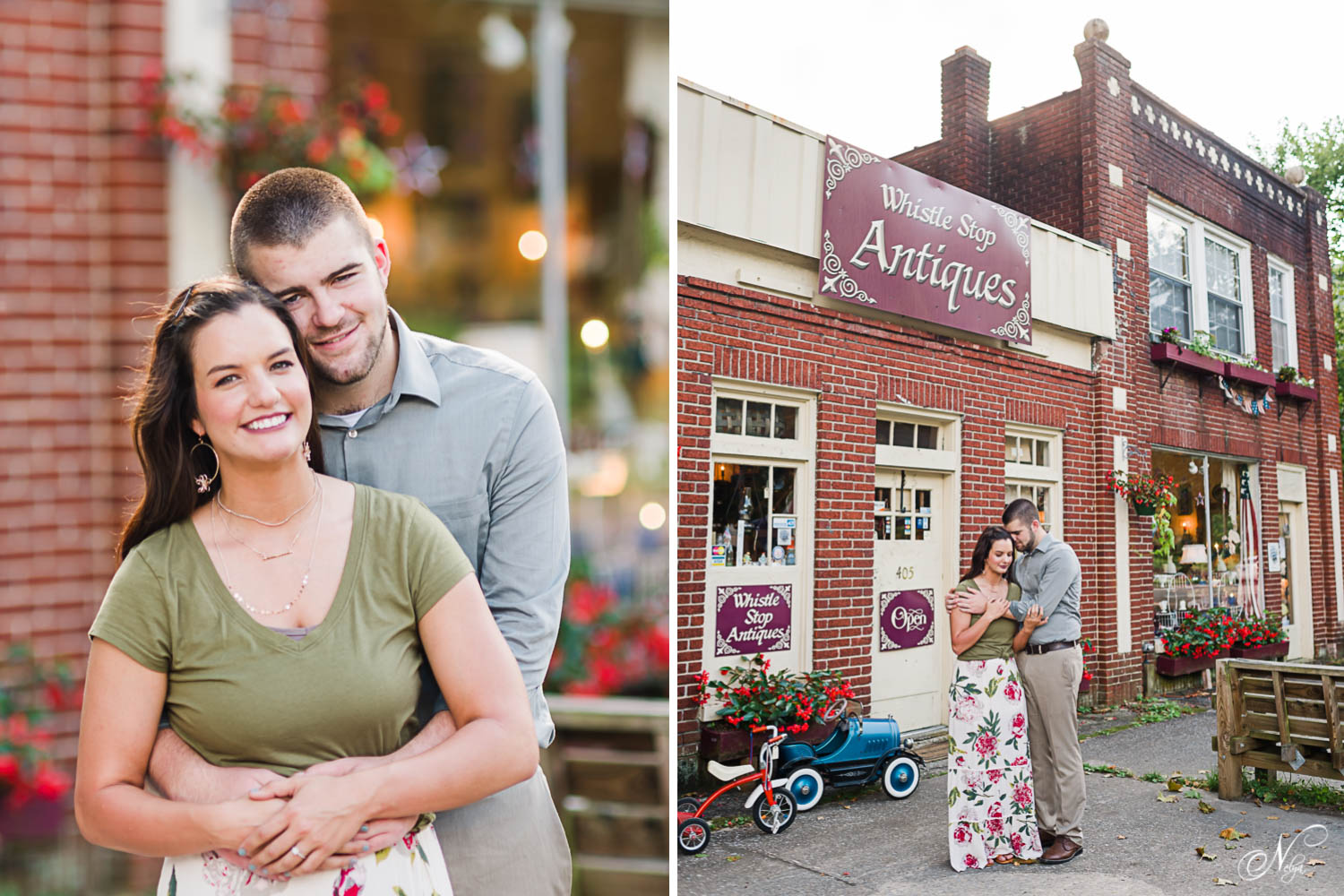 Engaged couple in front of Whistle stop Antiques in Cumberland Gap TN