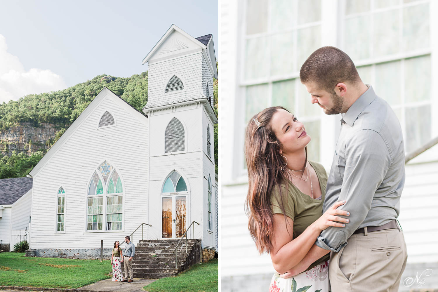 two people in front of Church of the living God in Cumberland Gap town in TN. And close up of couple looking at eachother