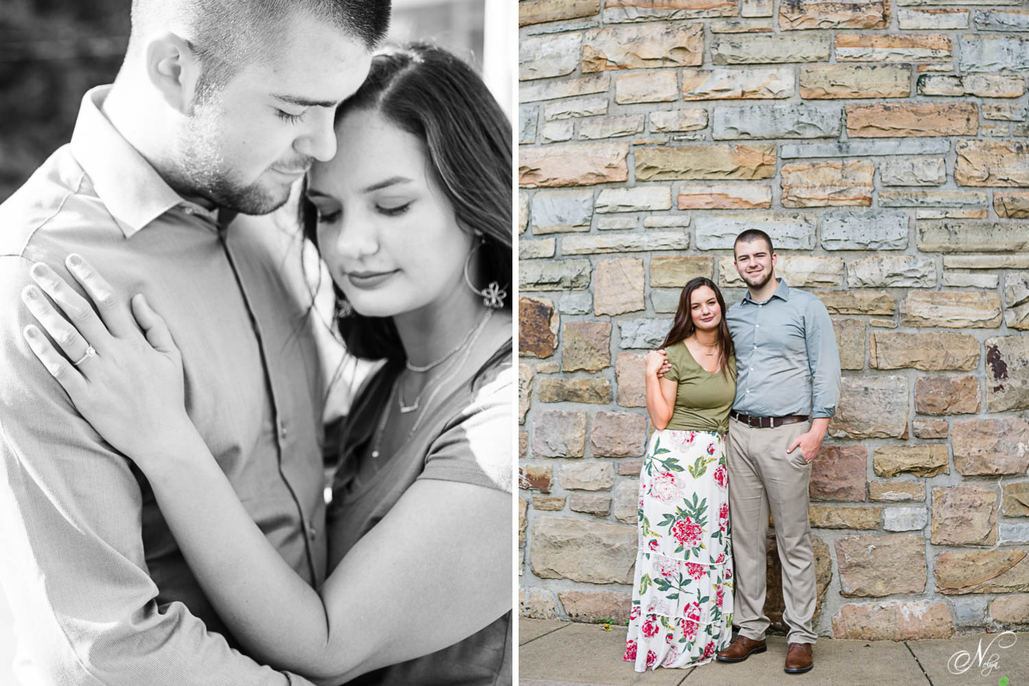 black and white photo of soon to be married couple outside in east Tennessee. And couple standing in front of stacked stone retaining wall in Middlesboro KY