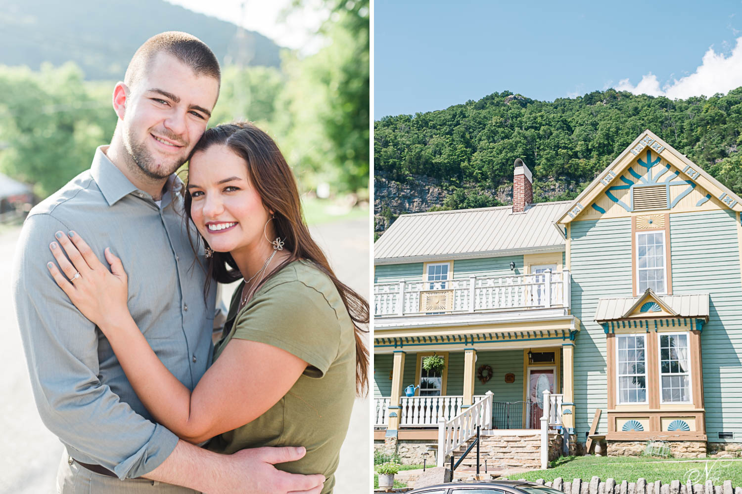 two people smiling hugging outside for their Tennessee summer engagement photos. And a historic home in Cumberland Gap TNsmiline
