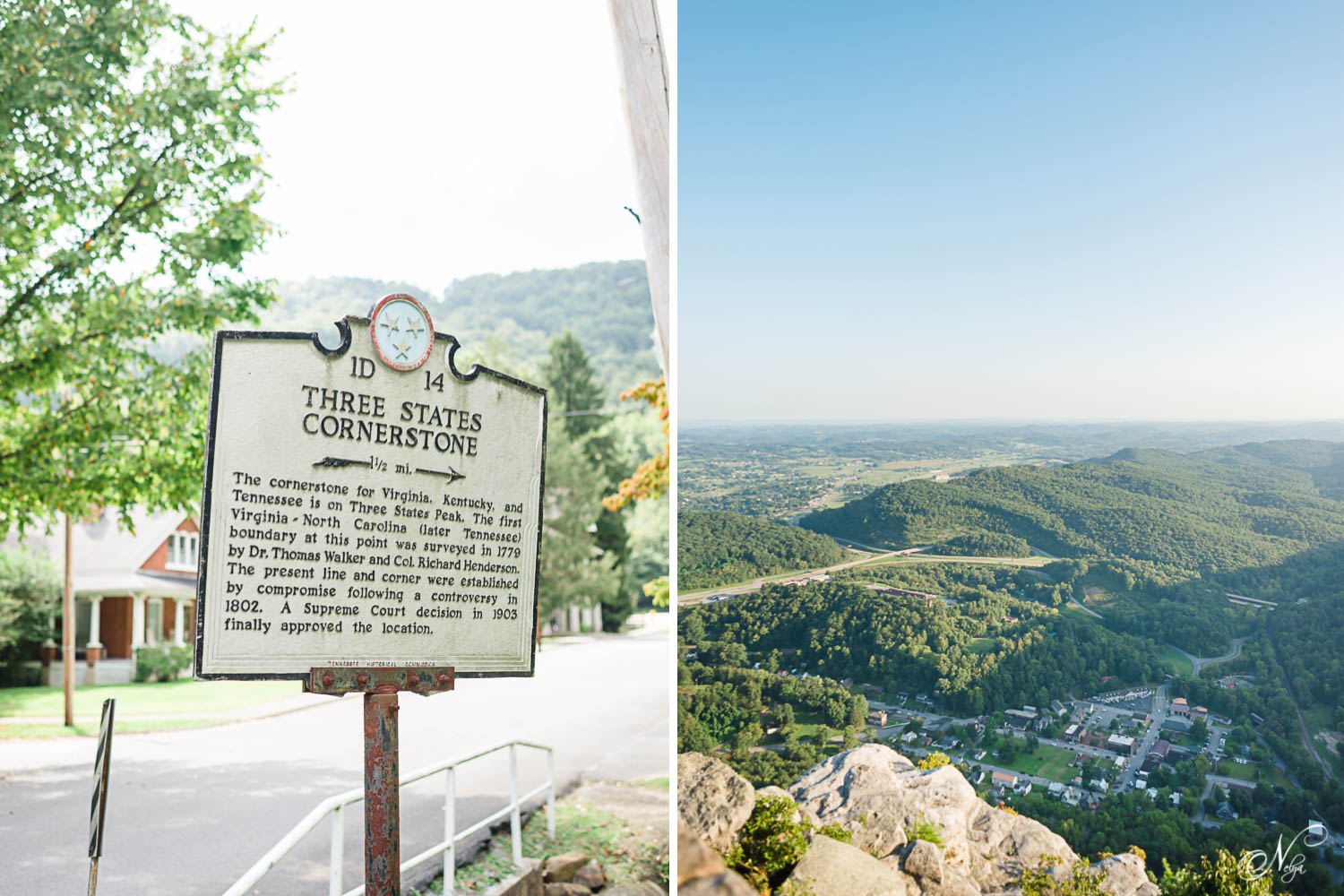 Historic marker sign for the three state cornerstone of virginia, Tennessee , virginia and Kentucky in the town of Cumberland Gap. And the view of Gumberland gap from the pinicle overlook in Middlesboro KY
