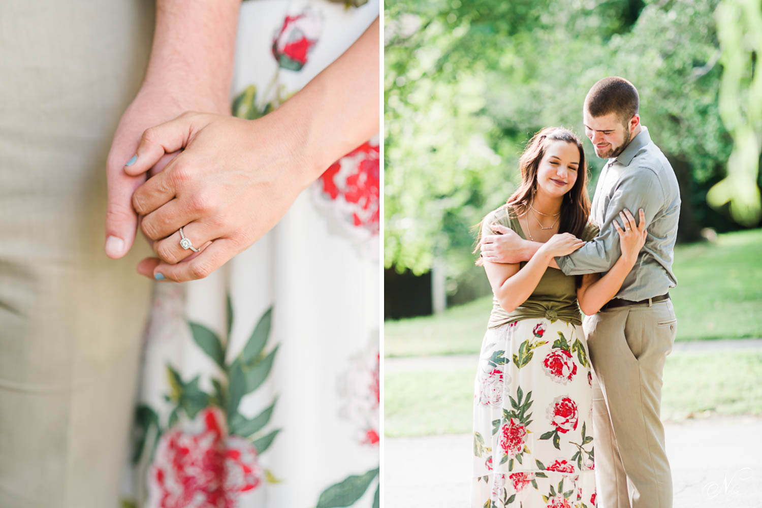 two hands with an engagement ring and floral print skirt in the background. Anda smiling couple outside for their summer engagement photos.