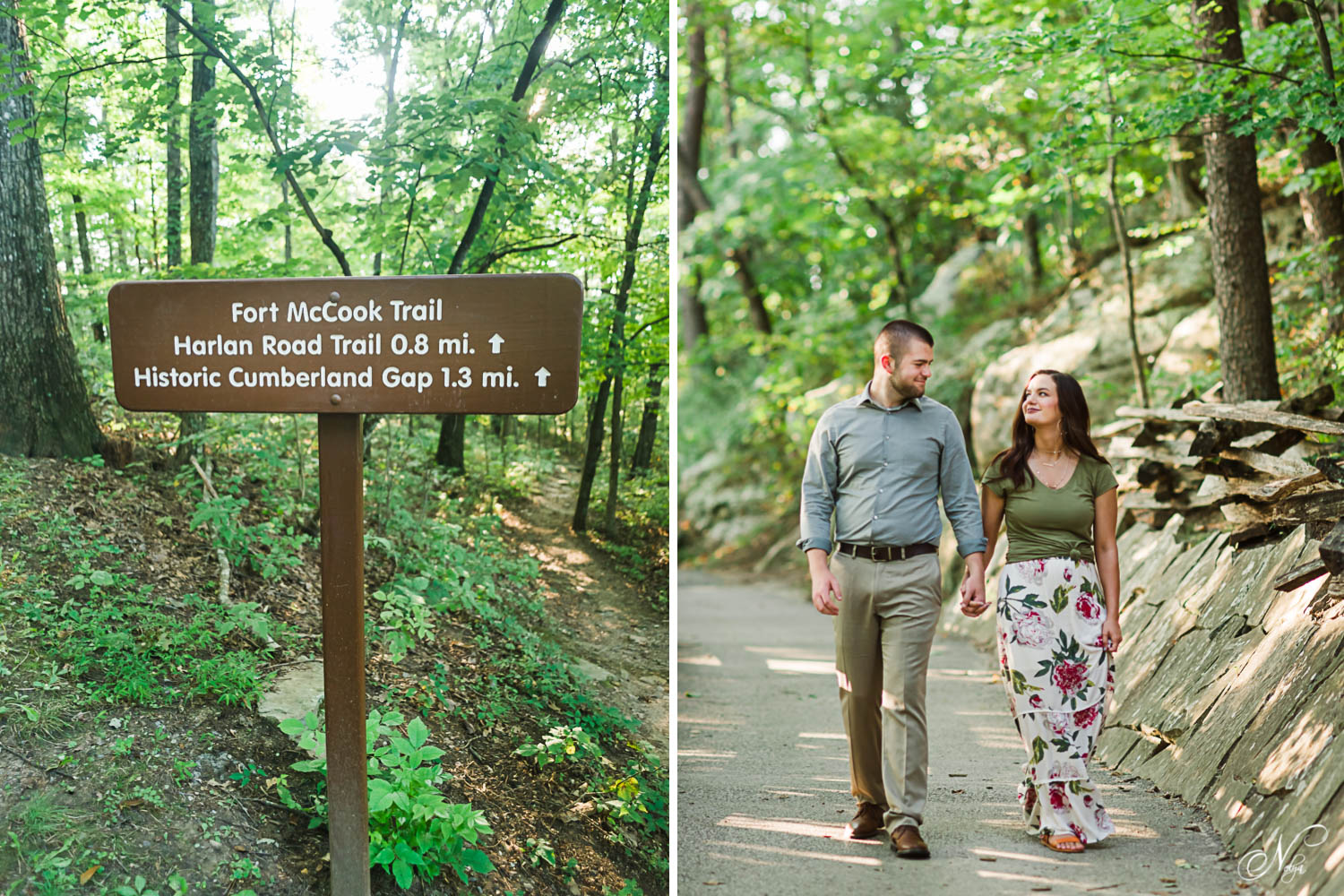 the trail leading to the Pinackle overlook and Fort McCook trail. And two people enjoying the lesurely walk to the Cumberland Gap overlook