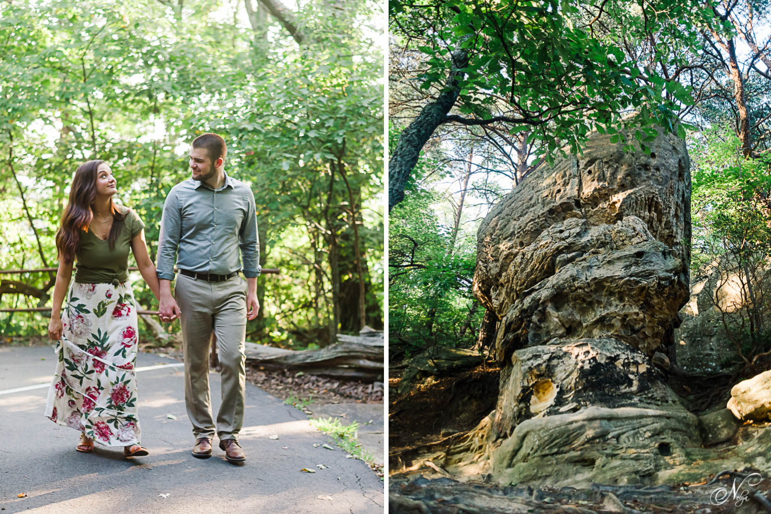 two people walking the paved trail through the trees to the Pinacle overlook in Middlesboro KY and Cumberland Gap TN. And an interesting large rock along the trail