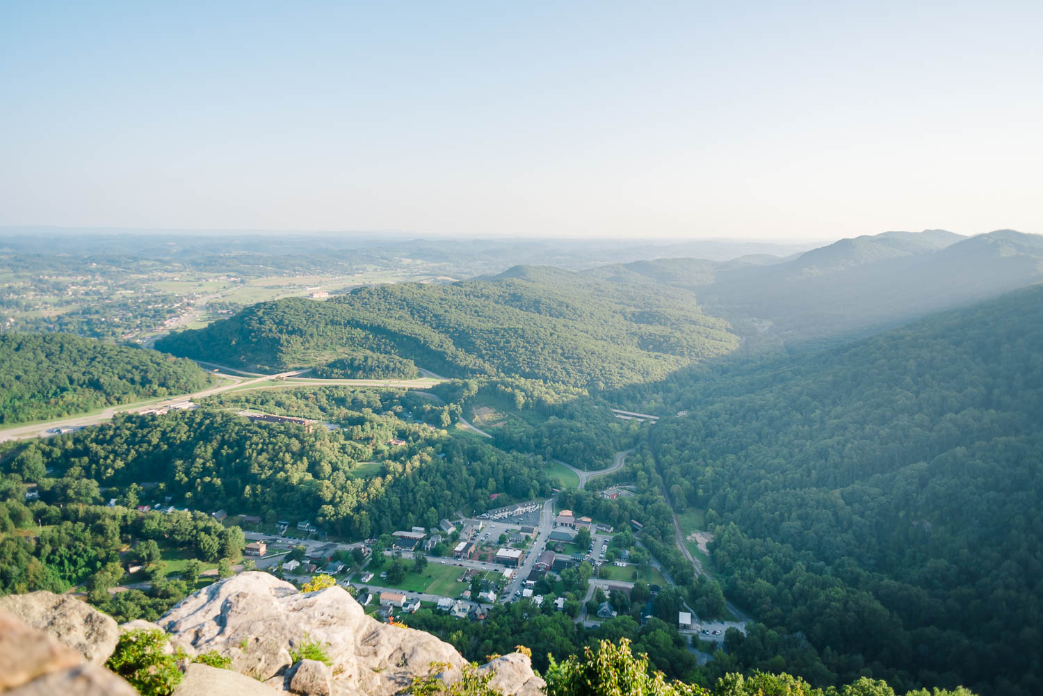 The city of Cumberland Gap seen from above at the pinnacle overlook in Middlesboro KY