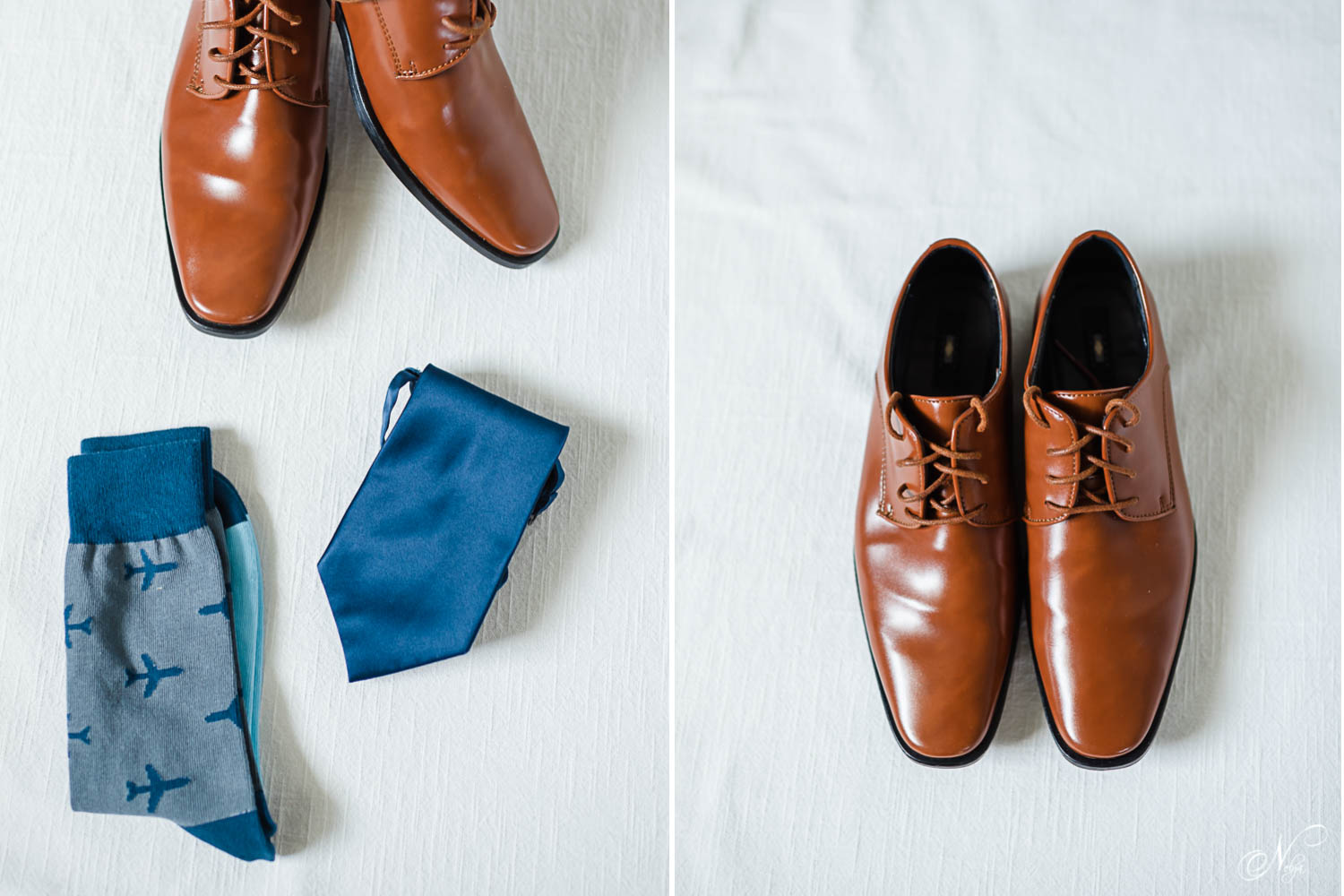 brown leather men's dress shoes, blue men's socks with airplaines on them and navy blue necktie.