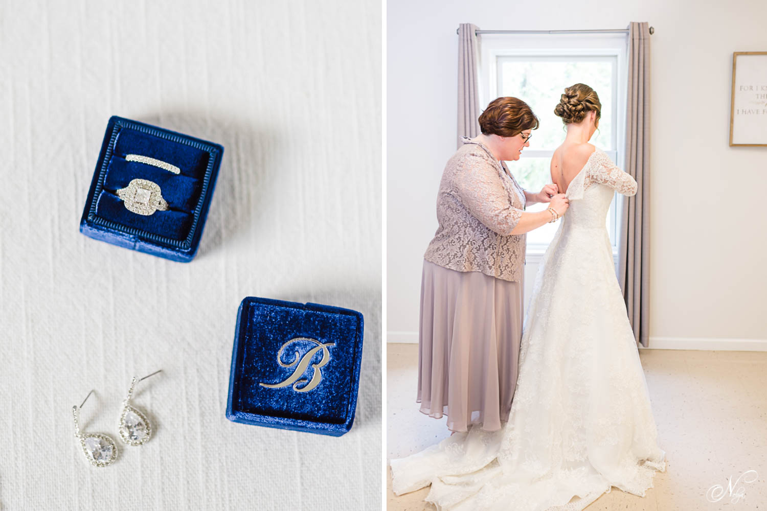 blue velvet mrs ring box with monogramed lid. And mother buttoning bride's wedding dress