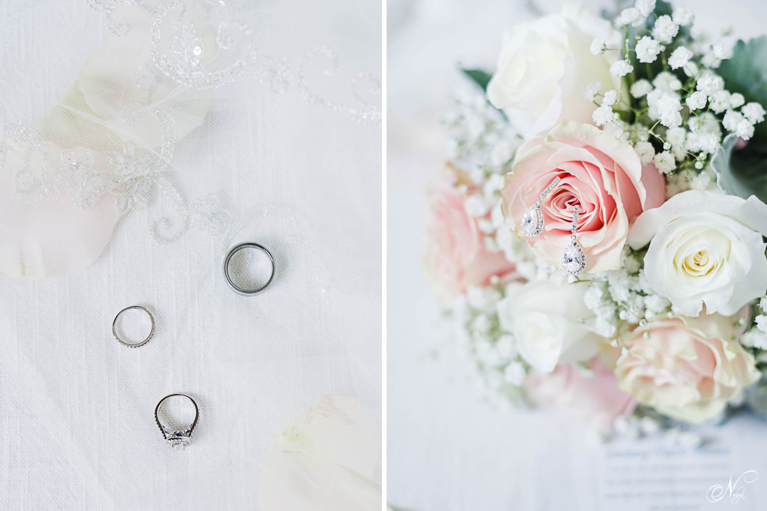 wedding rings on white tulle. And pink rodes in a wedding bouquet in Gatlinburg TN