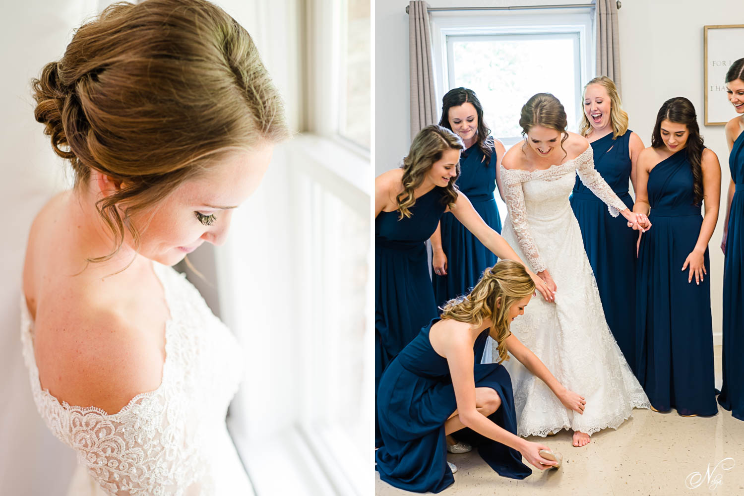bride looking out the window. And bridesmaids in navy floor length dresses gathered around the bride