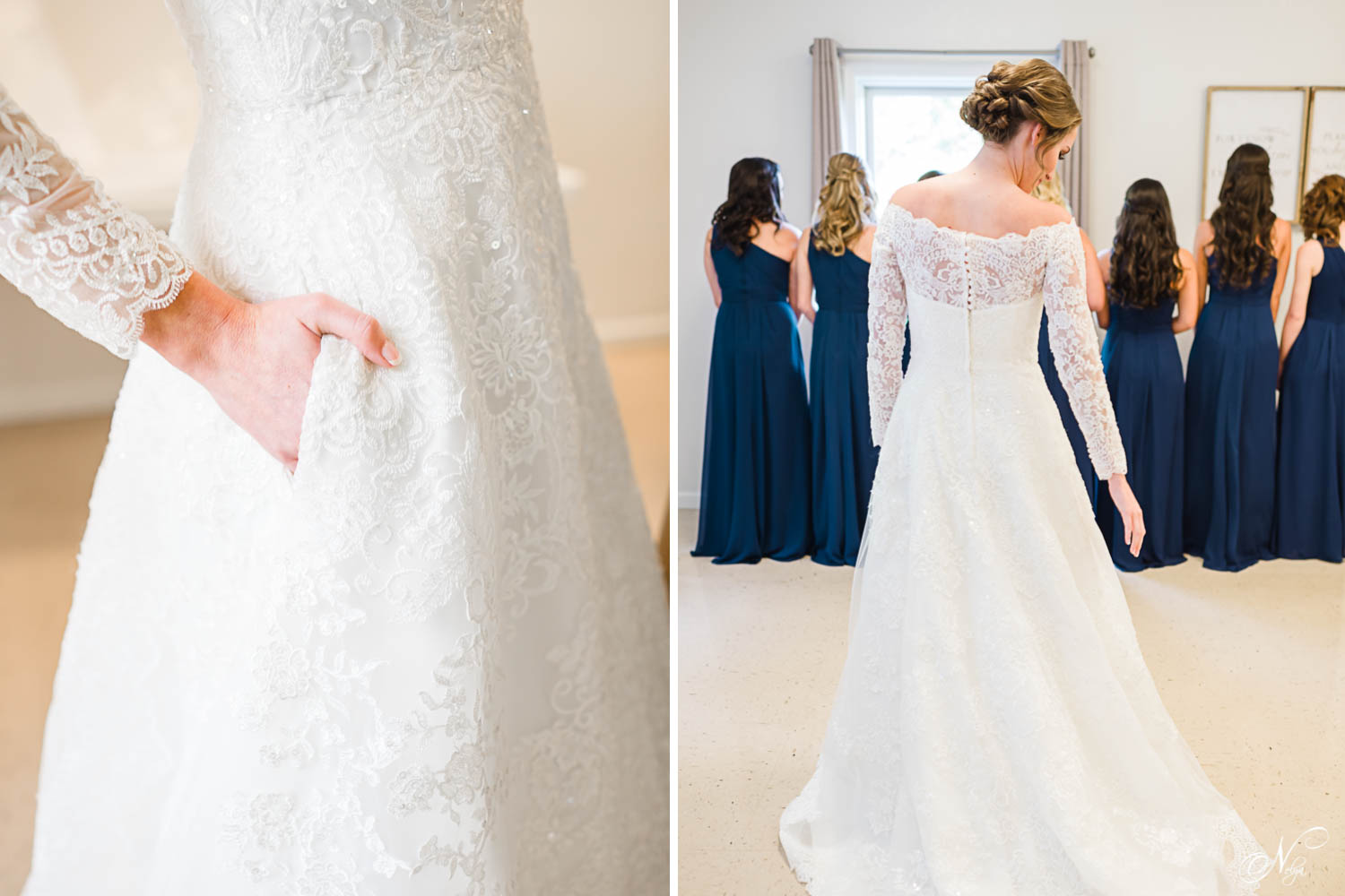 Oleg Cassini wedding dress with pockets. And back of Off-The-Shoulder Lace A-Line Wedding Dress with bridesmaids in the background