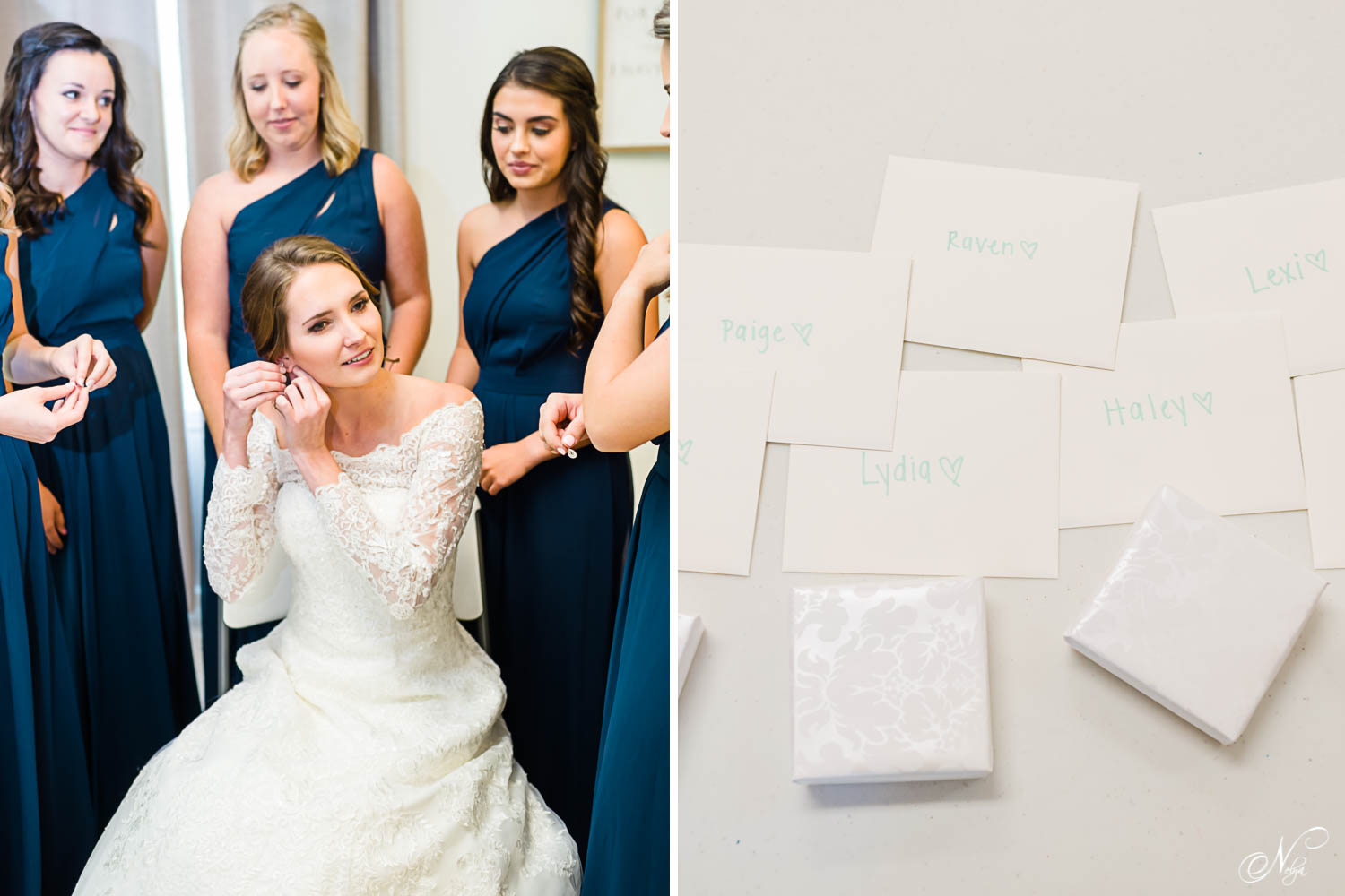 bride in off the shoulder dress putting in her earrings with bridesmaids around her in Sevierville TN