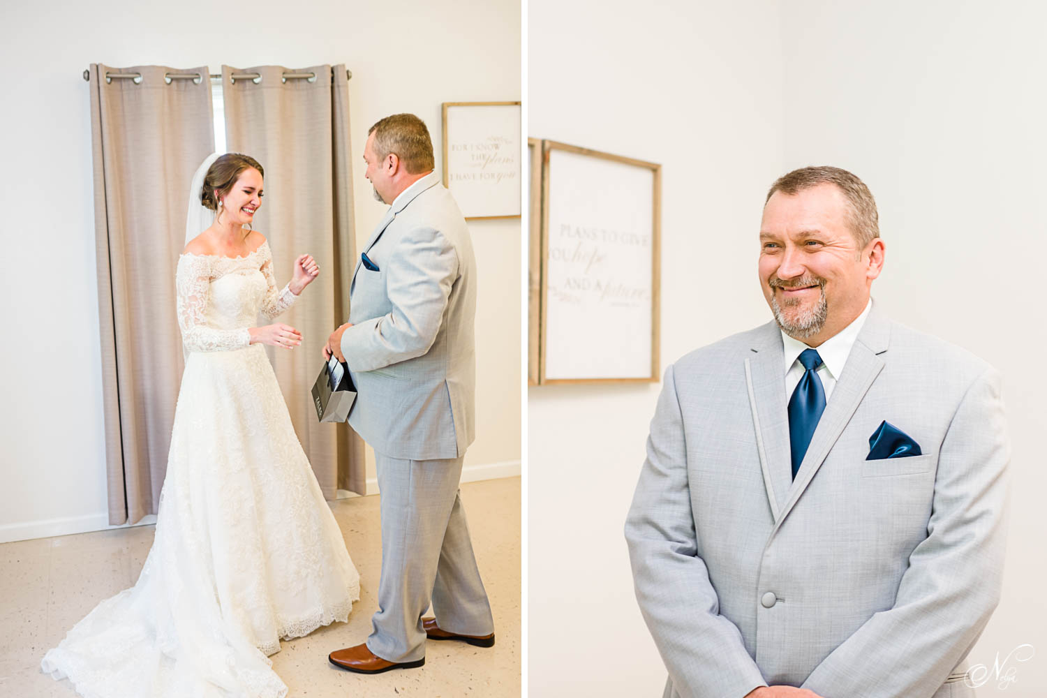 bride's dad seeing her in her wedding dress for the first time. And dad just standing there all dressed up in his suit smiling and trying not to cry.
