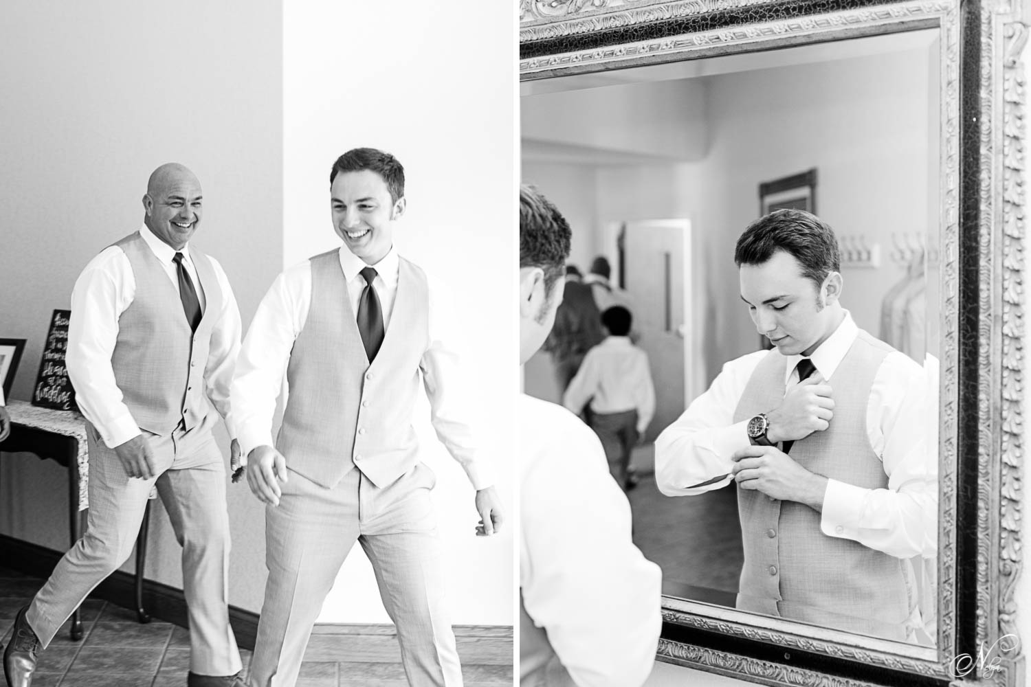guys in gray suits walking and laughing inside a Tennessee church. And groom looking in a mirror as he adjusts his cuffs.