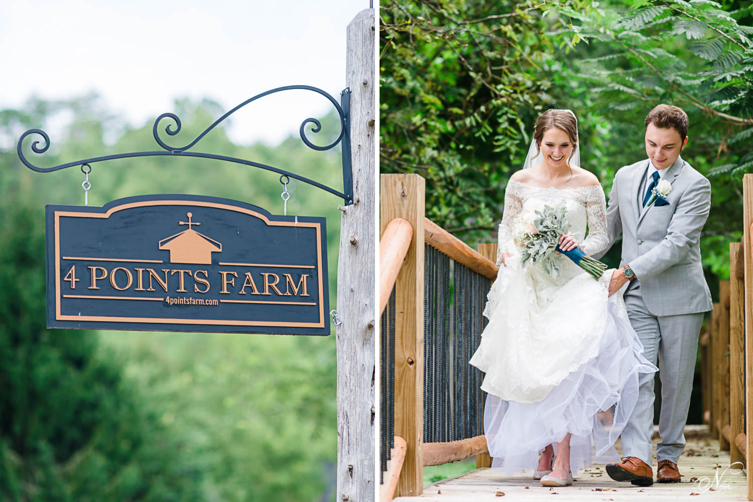 iron sign at 4 points farm in Gatlinburg TN. And bride and groom outside walking across wooden walking at the venuebridge