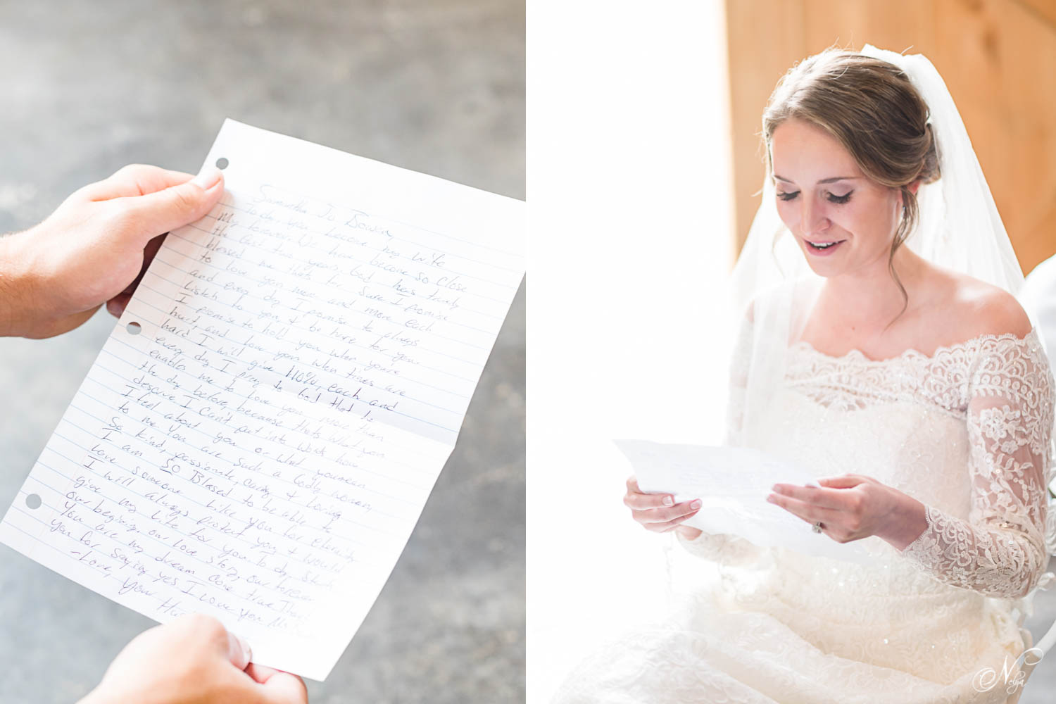 handwritten letter held by a woman's hands. And bride reading letter out loud near an open door in Tennessee