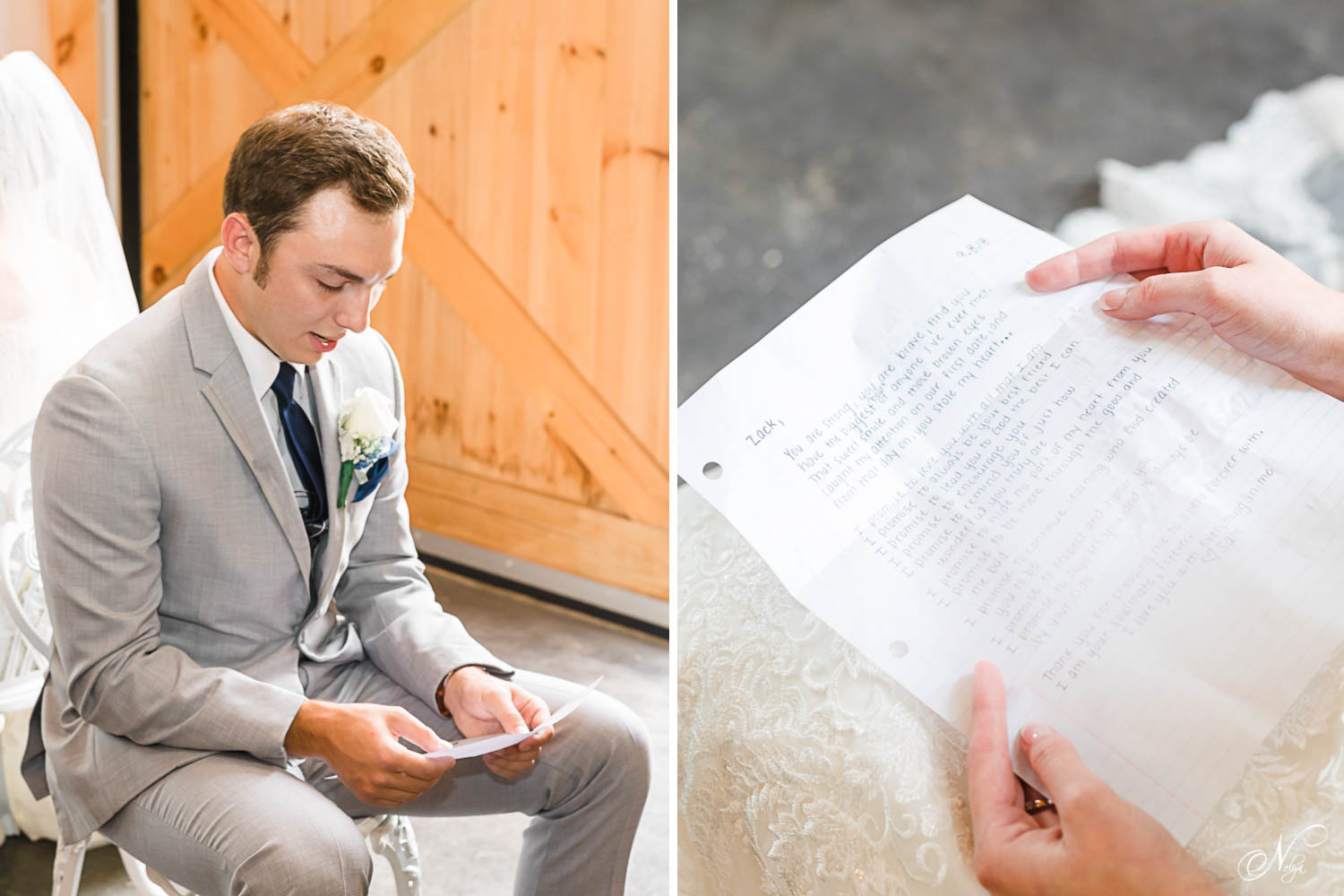 groom inside in a gray suit sitting in a chair reading a letter. And close up of hand written voews.