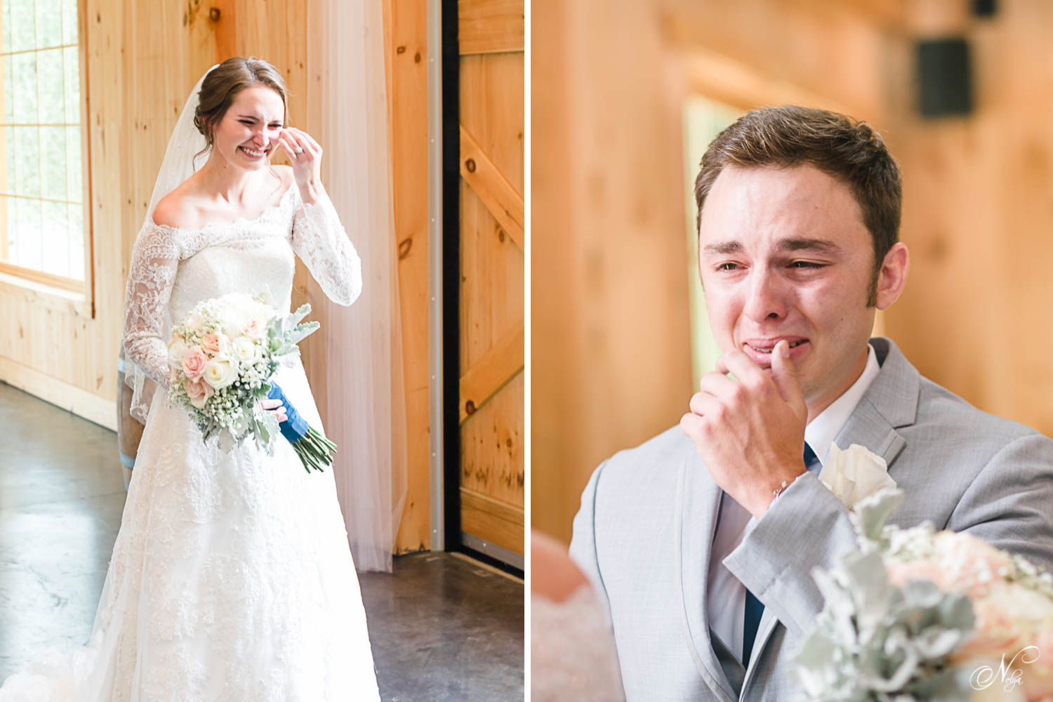reaction from bride seeing her soon to be husband see her for the first time in her dress. And groom brought to tears when he sees his future wife for the first time in her dress. At 4 points Farm in Sevierville TN