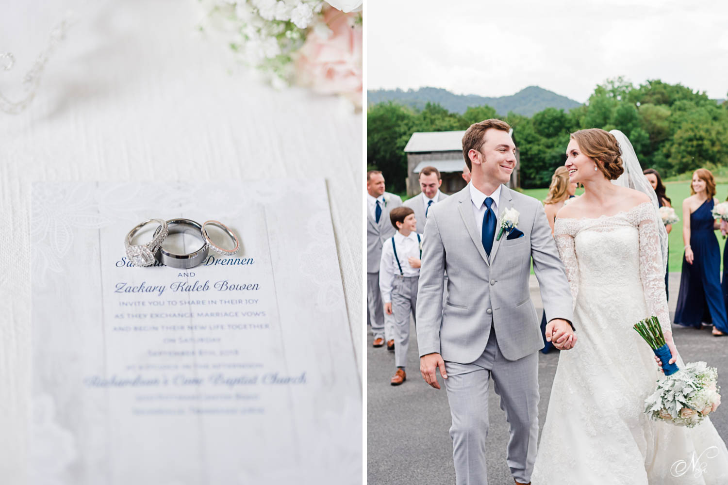 wedding rings styled on wedding invitation with pink roses in the background. And groom in gray and navy blue with his bride in an off the shoulder wedding dress in Gatlinburg TN