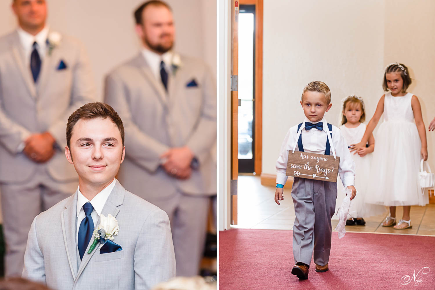 groom in gray suit watching the ring bearer walk in with cute wooden sign that says Has anyone seen the rings?
