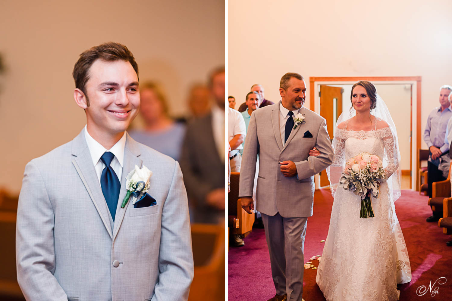 groom smiling as he sees his bride walk into the church with her dad in Gatlinburg TN