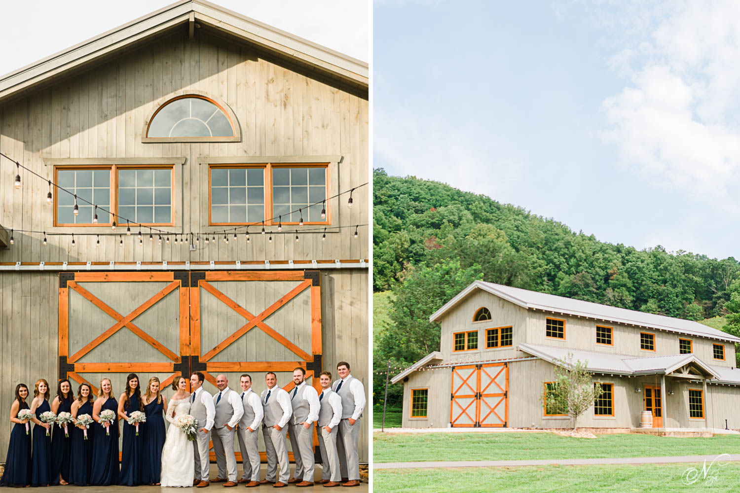 4 points farm wedding party in early september in front of barn. And an exterior view of the venue at 4 Points Farm in Gatlinburg TN