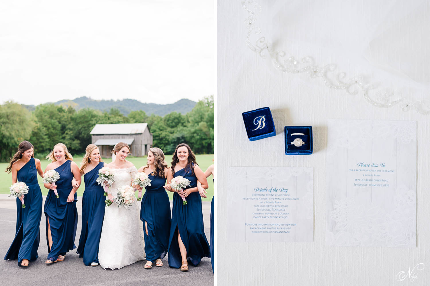 bride and bridesmaids laughing and walking in front of a Tennessee barn. And beautiful wedding details with lace, blue velvet ring box and blue and white invitation