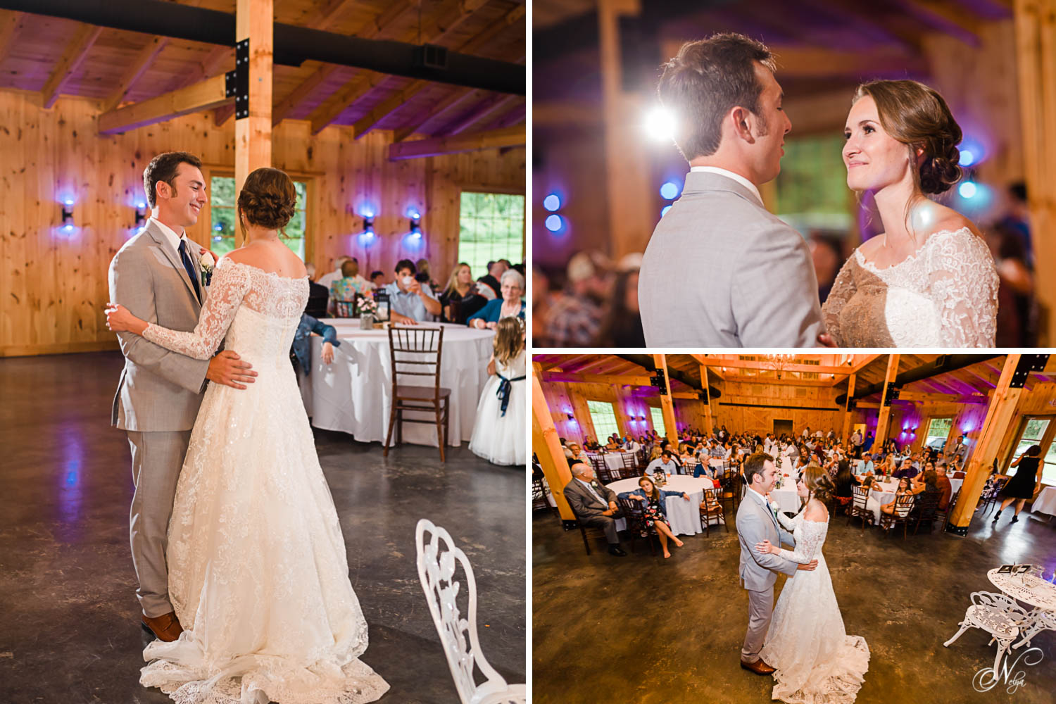 bride and groom's first dance inside the barn venue at 4 Points Farm