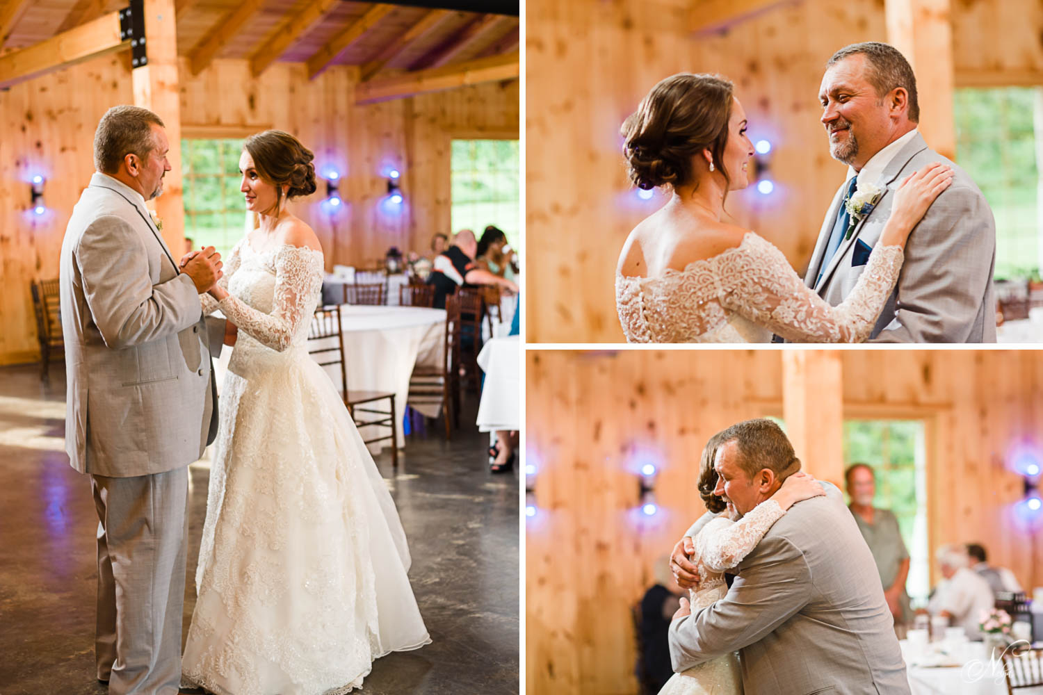 Dad and his daughter dancing the Farther daughter dance at her wedding in Sevierville Tn at 4 Points Farm