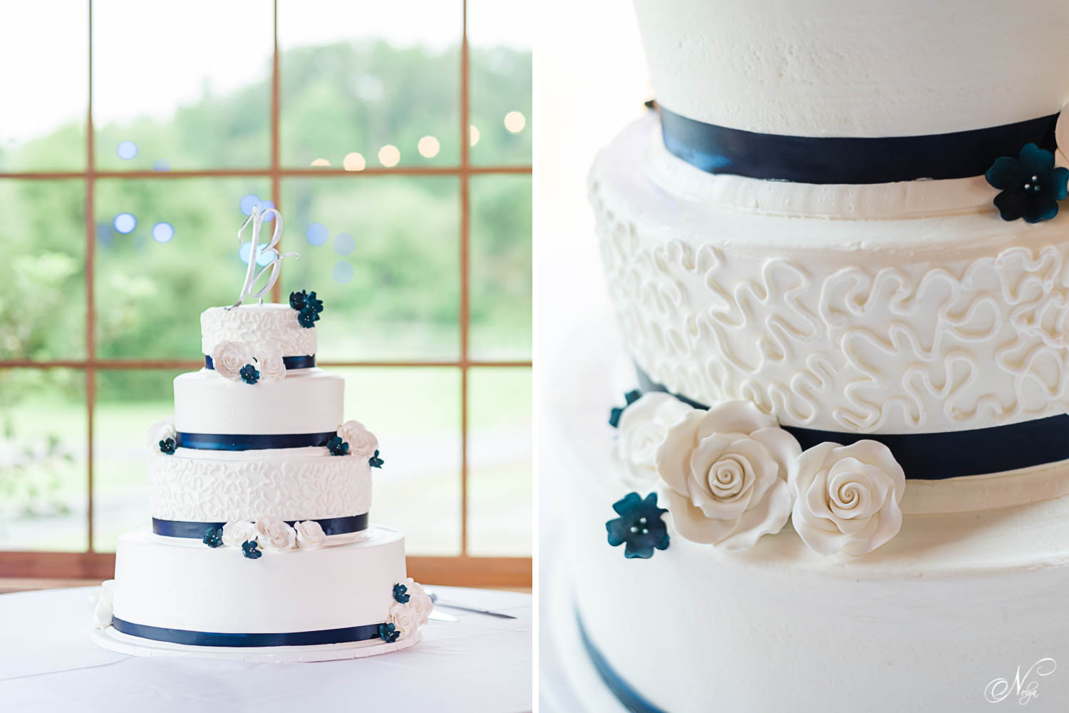 white three tiered wedding cake with white roses and navy blue accents at 4 Points farm wedding