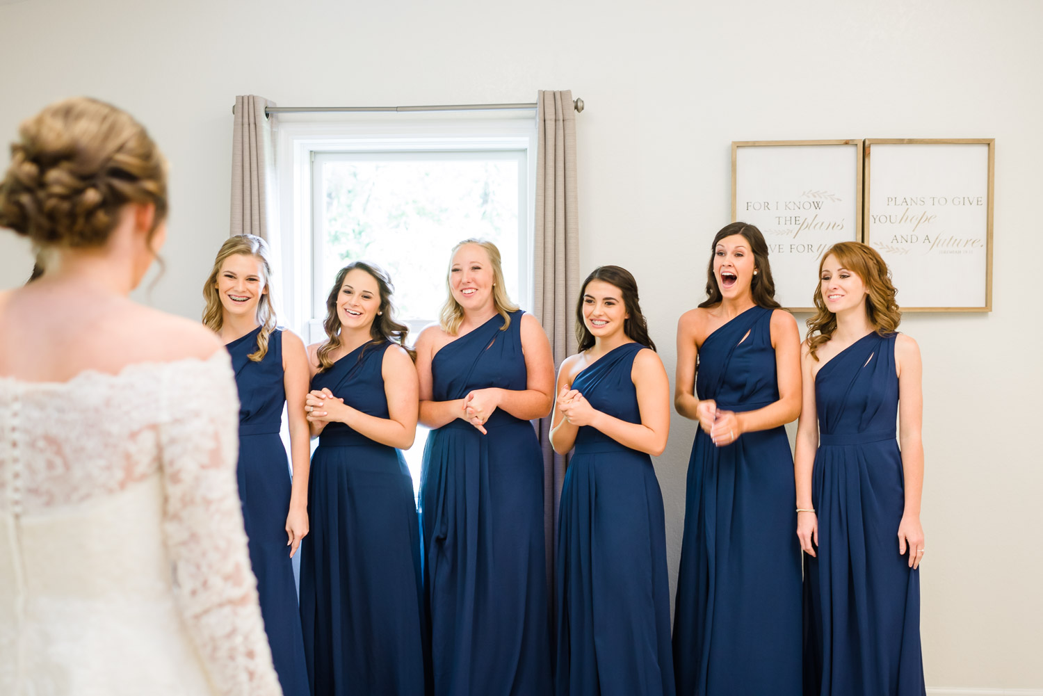 Bridesmaids get to see the bride in her dress for the first time at Gatlinburg wedding