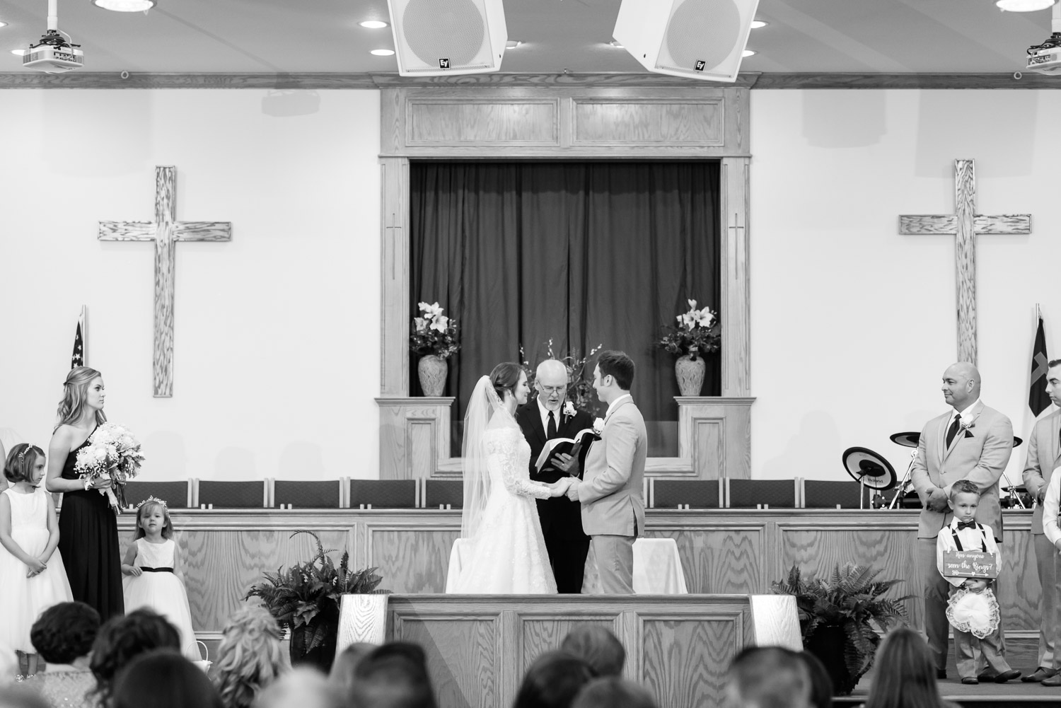 Bride and groom at indoor church wedding in Sevierville TN