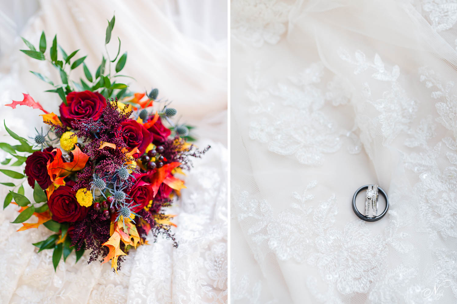 bold fall red, orange and yellow wedding bouquet. And wedding rings on white lace