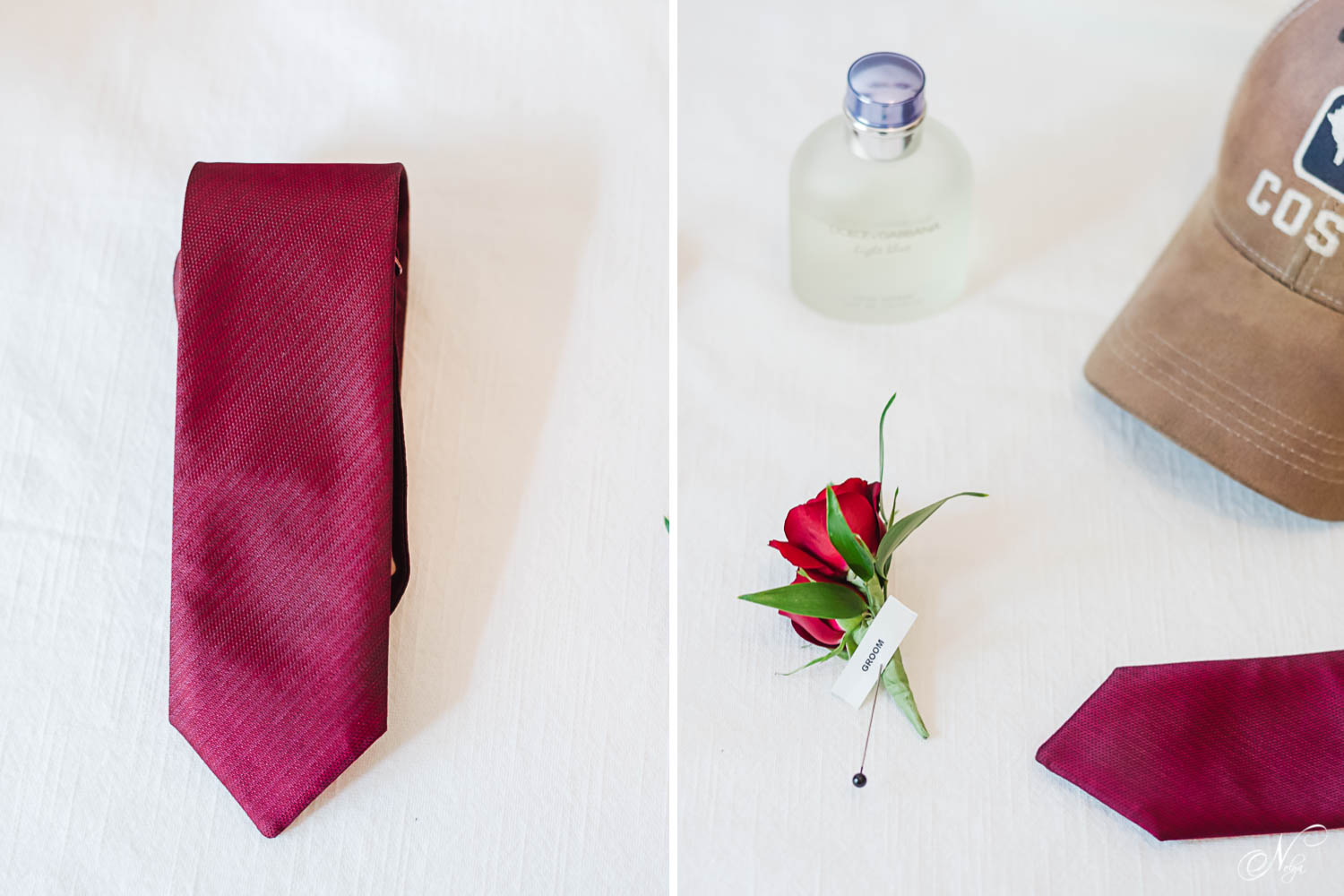 groom's details: maroon necktie, perfume, a red rose and part of a ball hat on white background