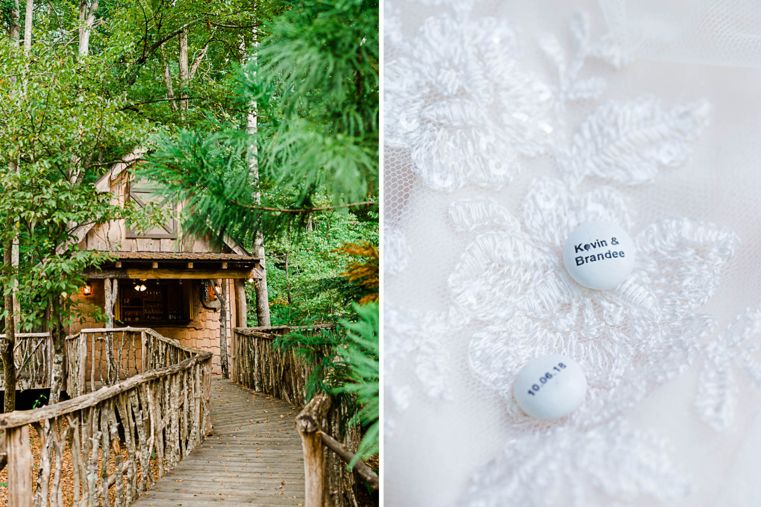 rustic cottage and wood walkway at Indigo Falls in Dallas GA. And white m&ms with wedding date printed on them