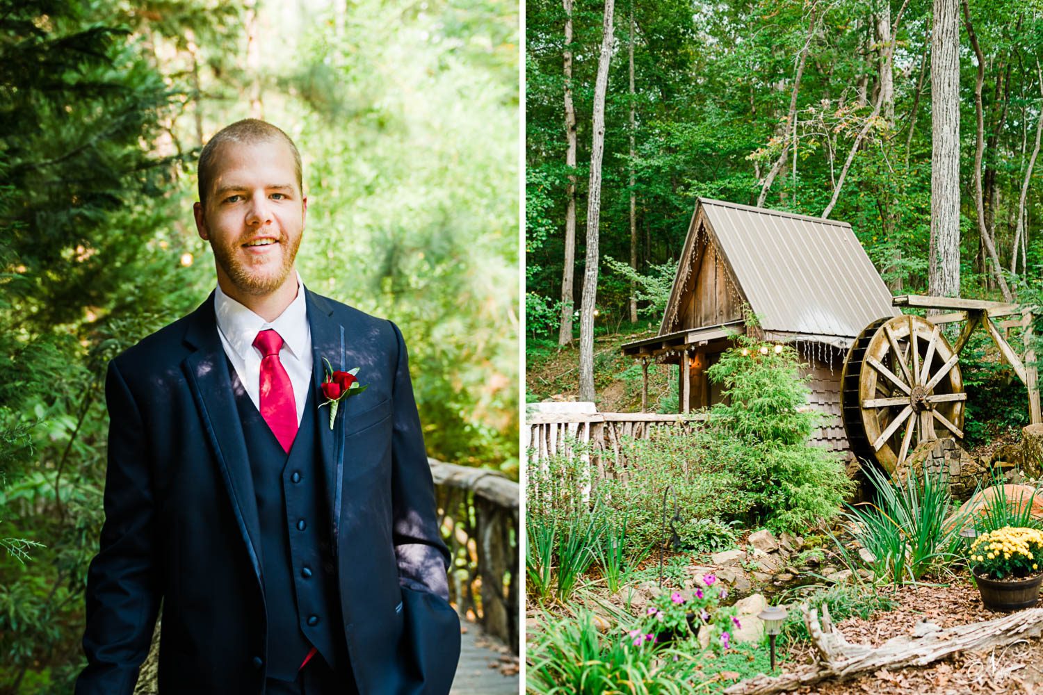groom with red necktie and red rose boutonniere. And The water wheel at Indigo falls events in Dallas GA
