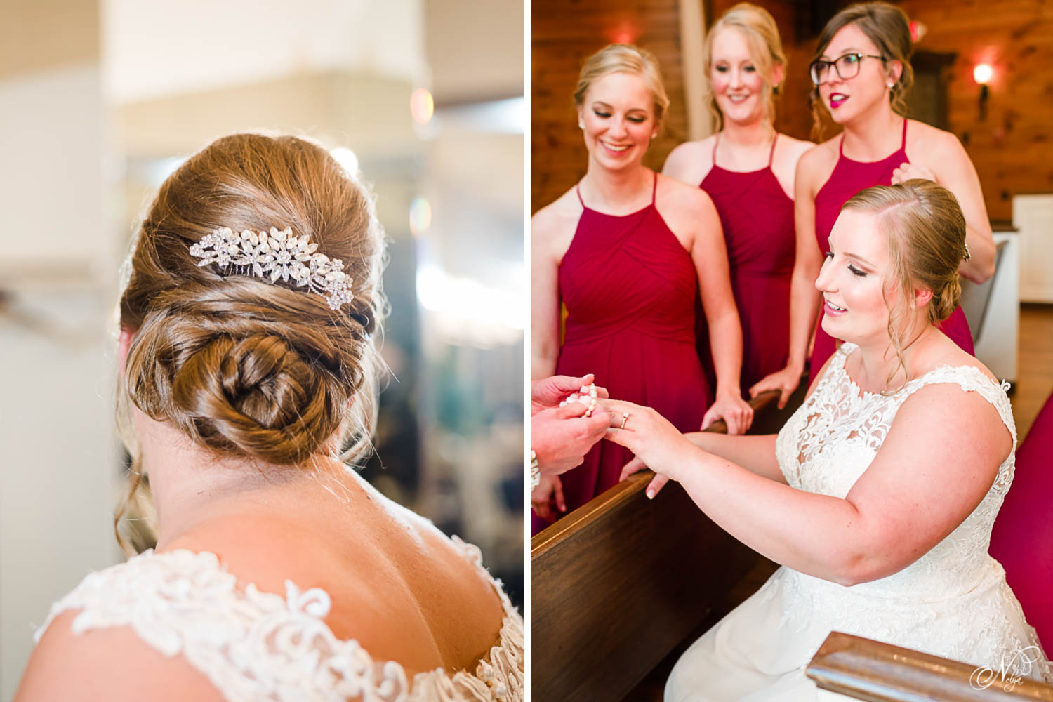 bride wedding hair updo by Make M Up GA. And bridesmaids helping bride put on her jewelry.
