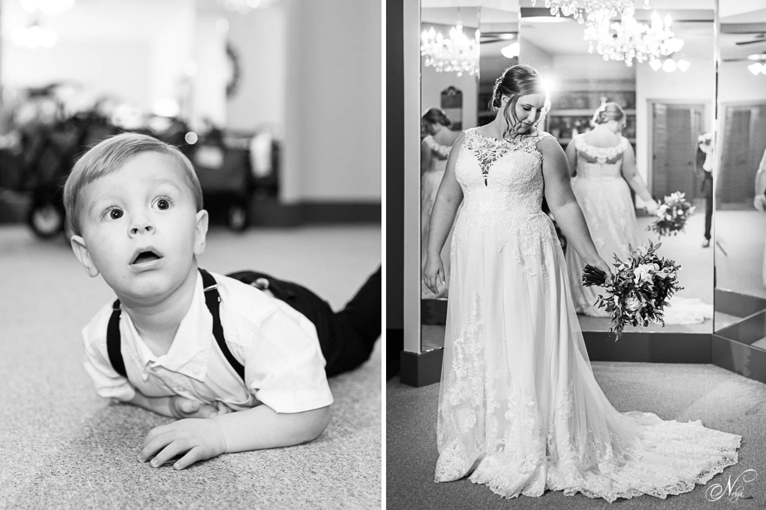 small child laying on floor looking up at bride. And bride standing in front of mirror on her wedding day in Georgia
