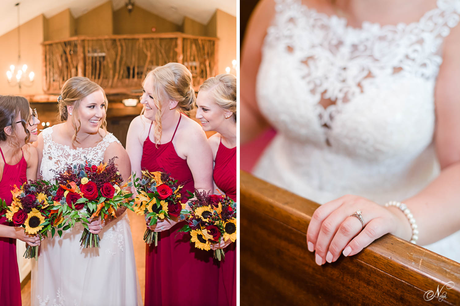 bridesmaids and bride talking in chapel at Indigo Falls. And close up of bride's hand with ring on her finger