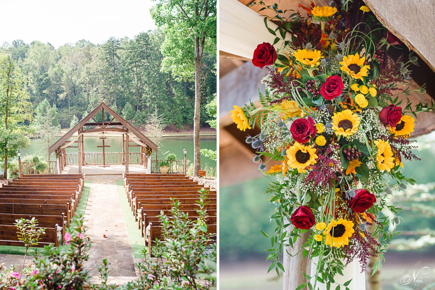 The outdoor ceremony area at Indigo falls. And bold fall colored roses and sunflowers
