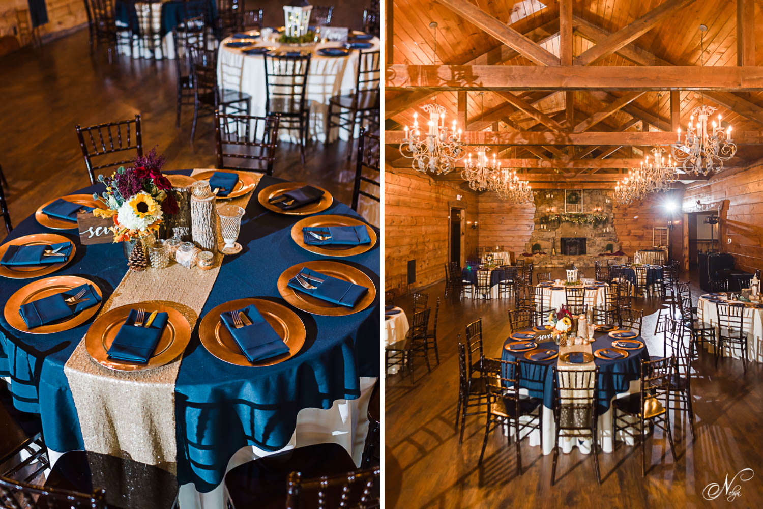 navy and gold tablescapes at Indigo Falls Events reception hall in Dallas GA
