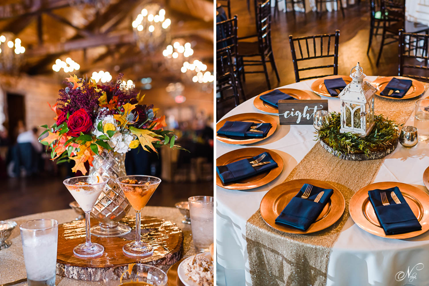 Indigo Falls indoor reception table scapes with gold chargers and navy napkins