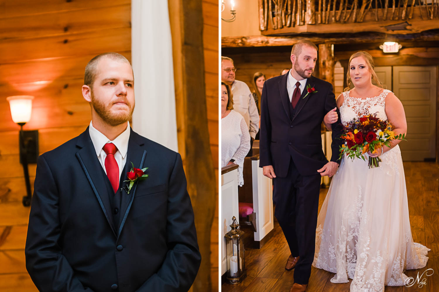 groom seeing his bride walk into the chapel with her dad. And dad and bride walking into the chapel.