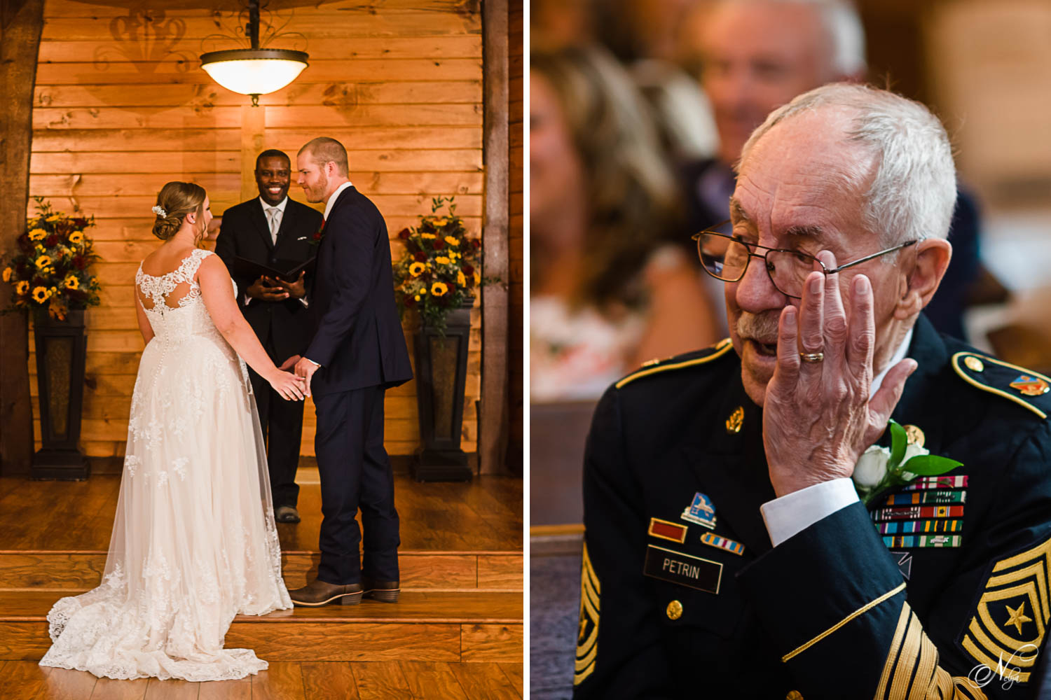 wedding ceremony. And grampa in military dress blues wiping a tear from his eye.