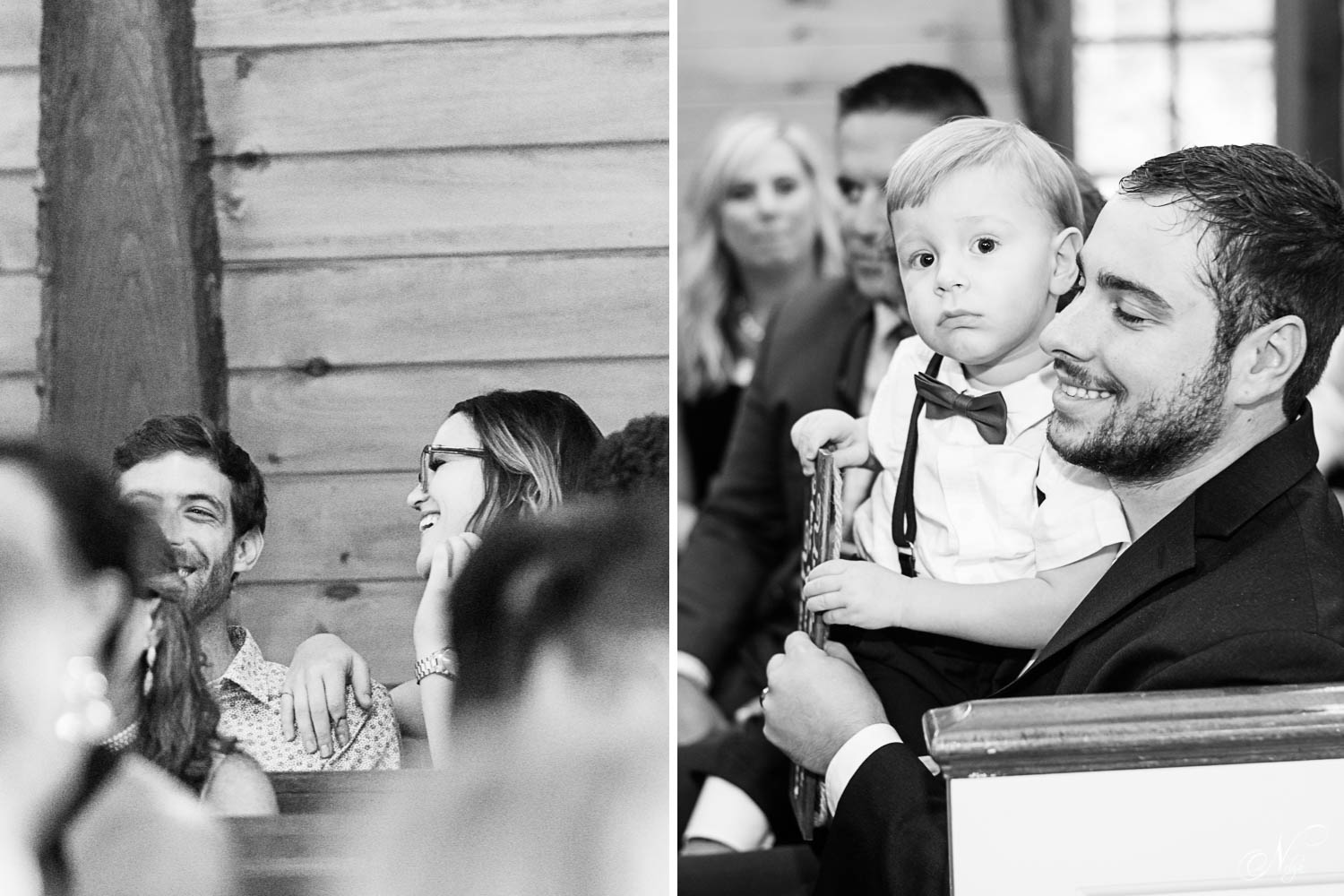 couple in the back of the church sharing a laugh. And cute ring bearer