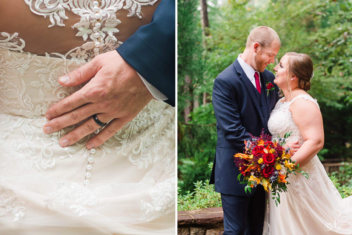 mand's hand with wedding ring on white lace wedding dress. And bride with blod reds in her wedding bouquet.