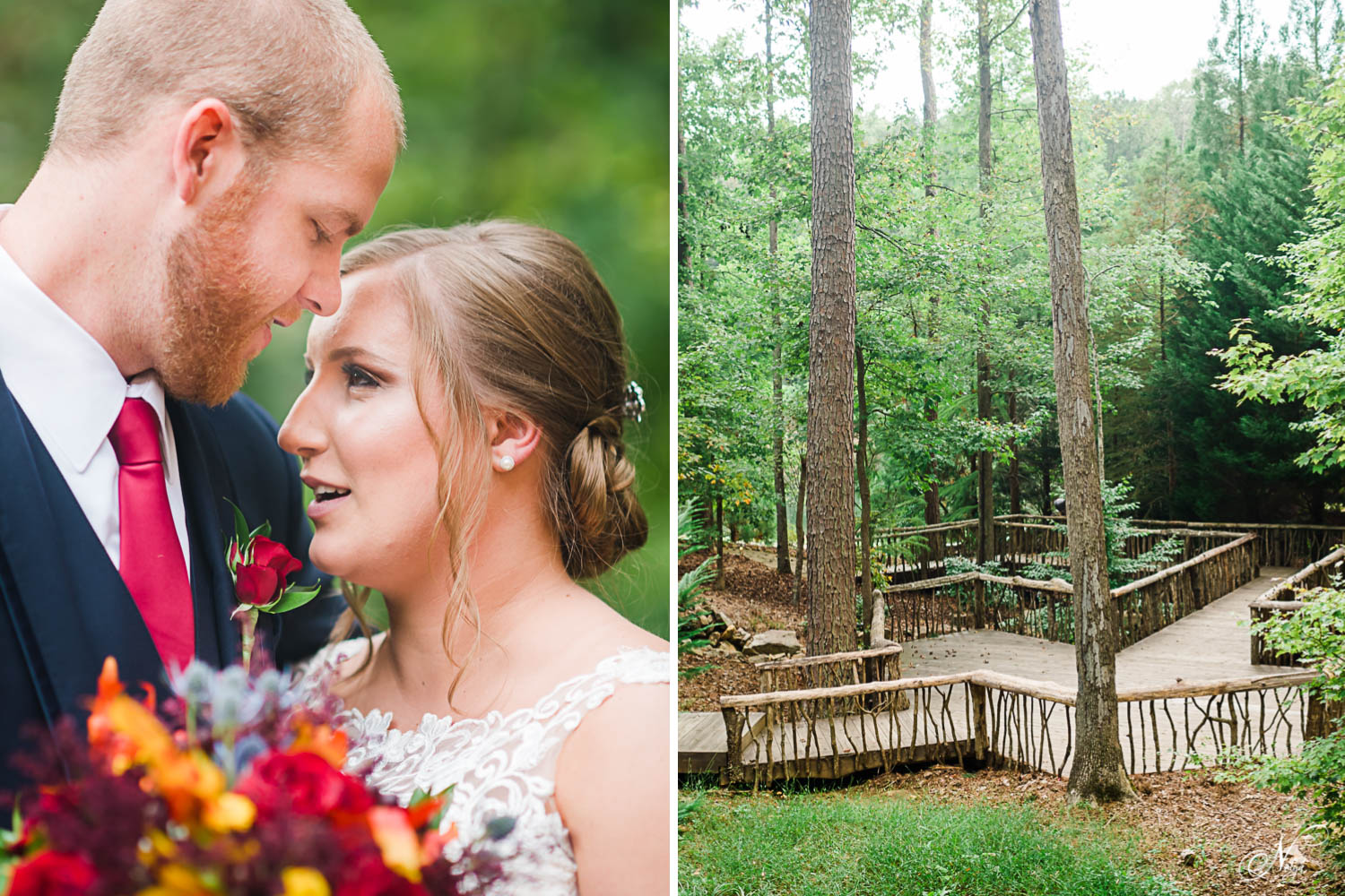 bride and groom portraits outside . And rustic wood walking pbridges at Indigo Falls events in Dallas GA