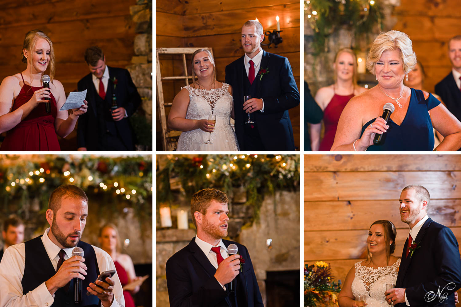 family members giving toasts to the bride and groom in a warm wood interior reception hall with a stone fire place.