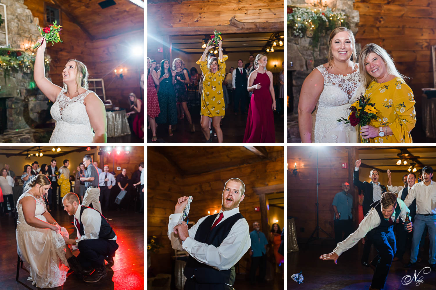 multiple photos of bouquet toss and garter toss at wedding recption at Indigo Falls events